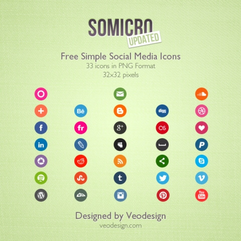 Somicro 33 Free Social Media Icons by vervex