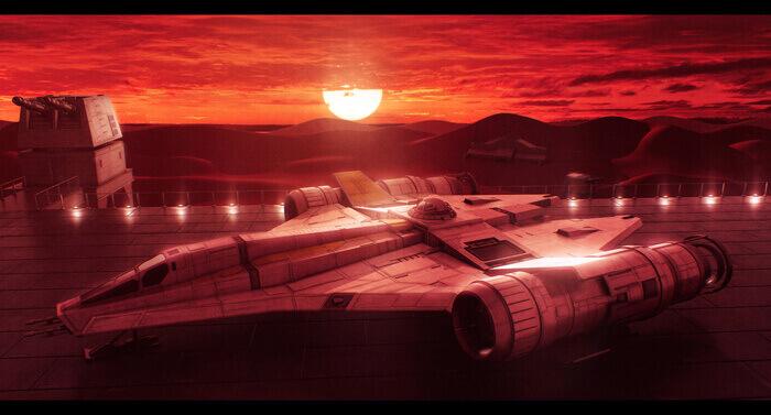 Star Wars Koensayr ETL-14 on Kessel by AdamKop