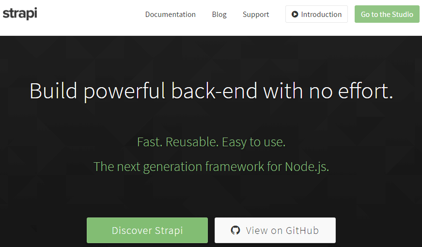 Strapi - Node.js framework based on Koa.js