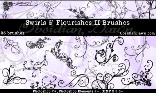 Swirls - Flourishes II Brushes by redheadstock