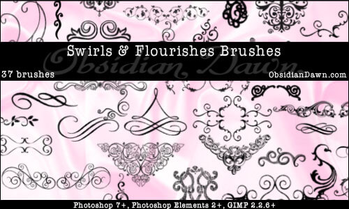 Swirls and Flourishes Brushes by redheadstock