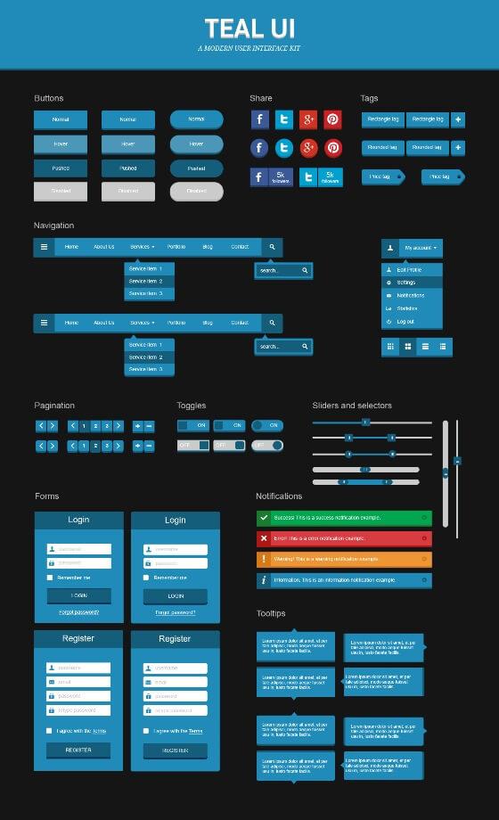 Teal UI Kit by xara24