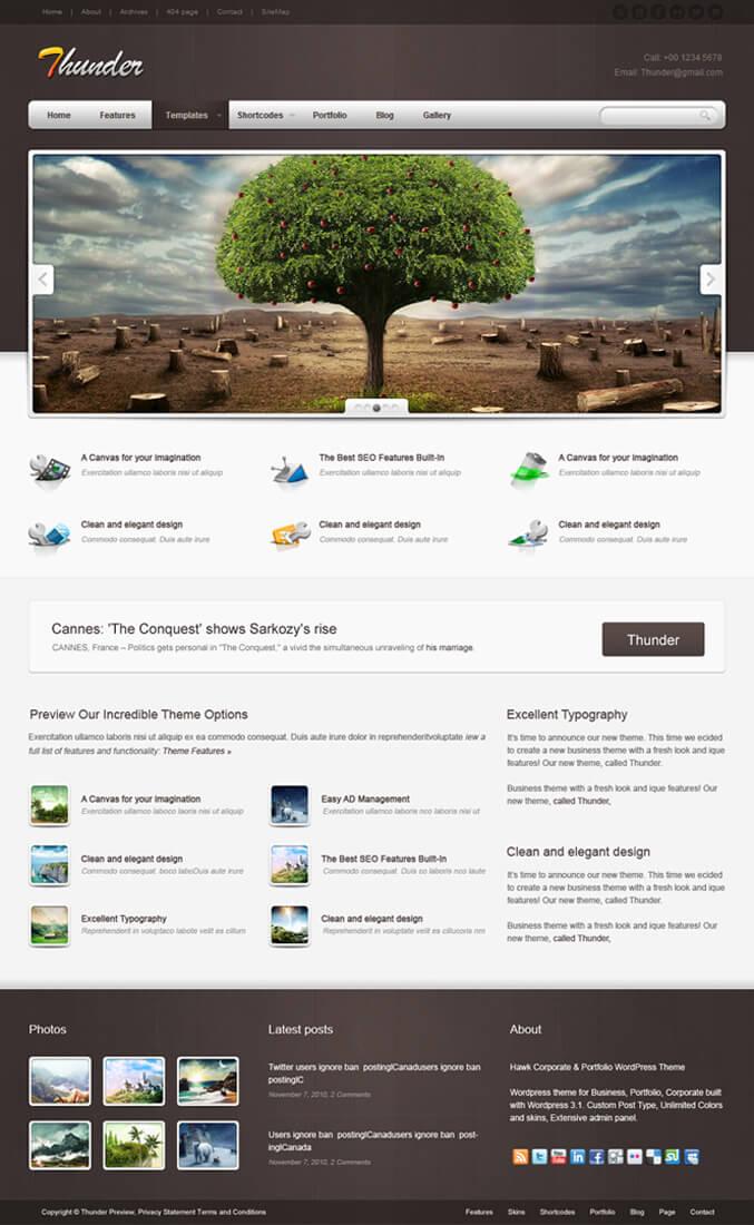 Thunder Corporate Portfolio WordPress Theme by HawkTheme