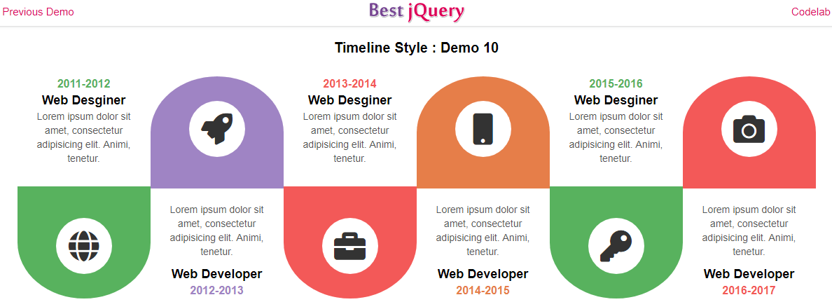 CSS Timeline Style 10