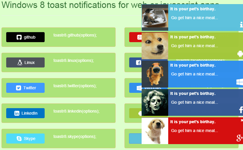 Toastr8 jQuery ModerUI Notifications