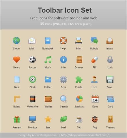 Toolbar Icon Set by shlyapnikova