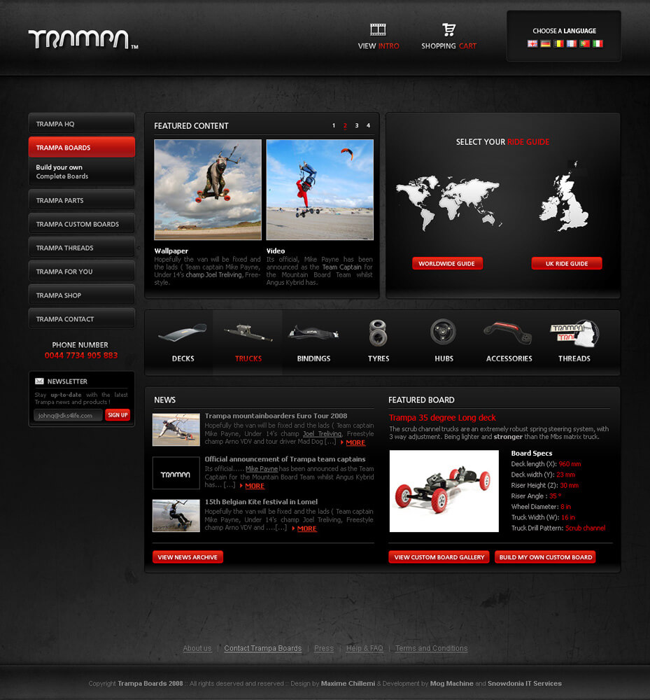 Trampa boards Webdesign by Barbroute