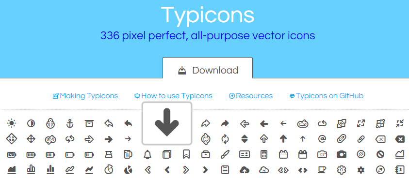 Typicons 336 pixel perfect, all purpose vector icons