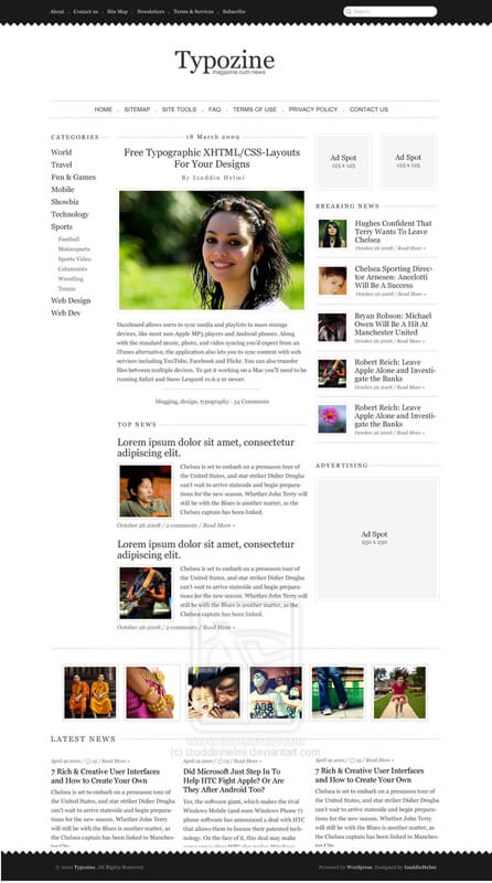 Typozine - WordPress Theme by izuddinhelmi