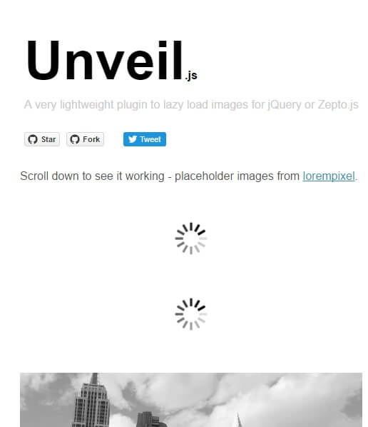 Unveil.js A very lightweight plugin to lazy load images for jQuery or Zepto.js