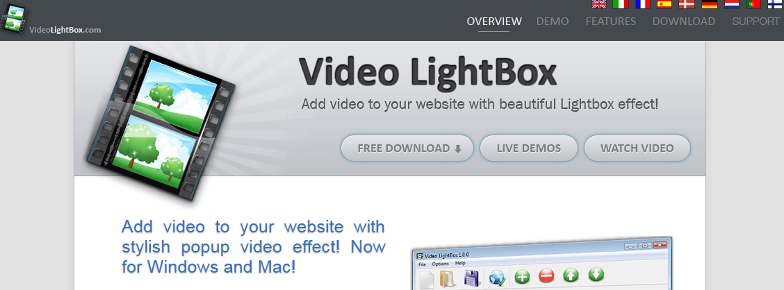 Video LightBox - Embed video to your website