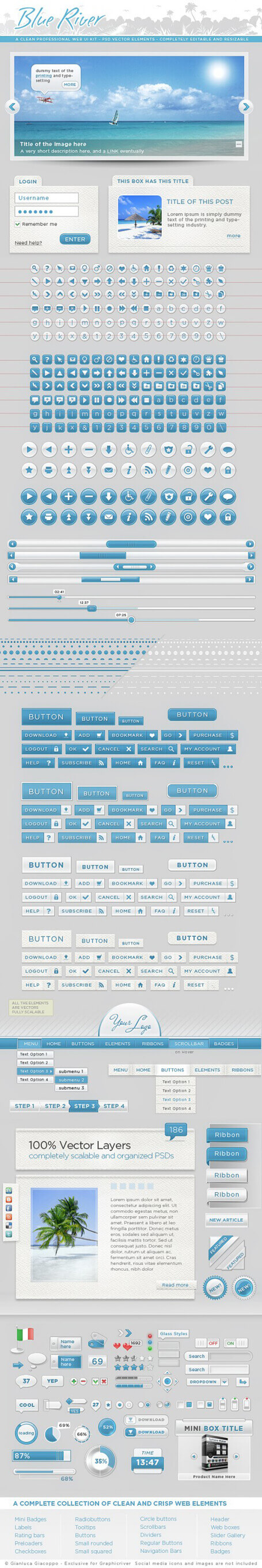 Web Graphic Kit UI elements by ~Giallo86