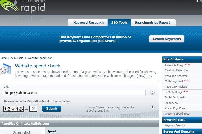 Website Speed Test - Searchmetrics Rapid