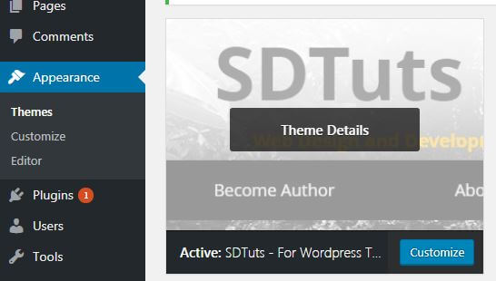 WordPress theme listed in admin panel