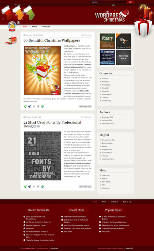 Wordpress Christmas Theme by rickydeviant