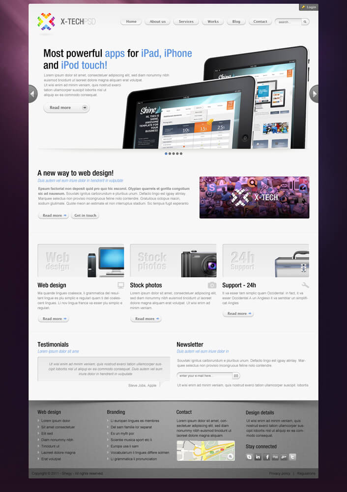 X-Tech Premium Psd template by Shegystudio