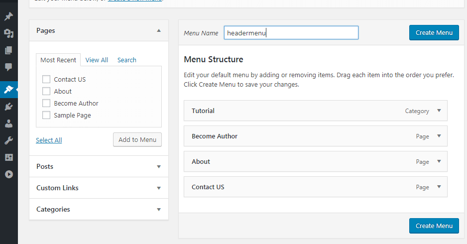 create menu in wordpress and named it headermenu