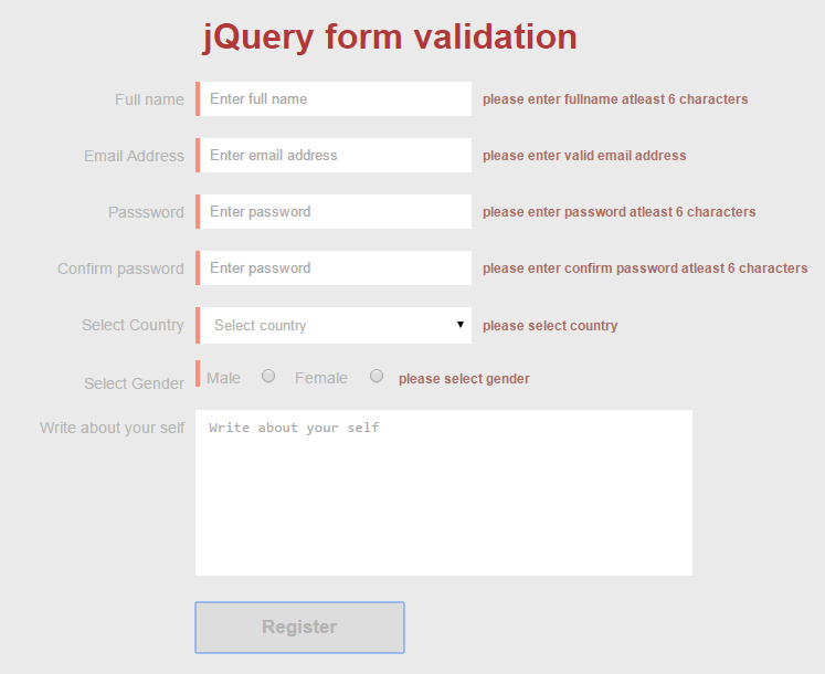 errors of validation after form submission
