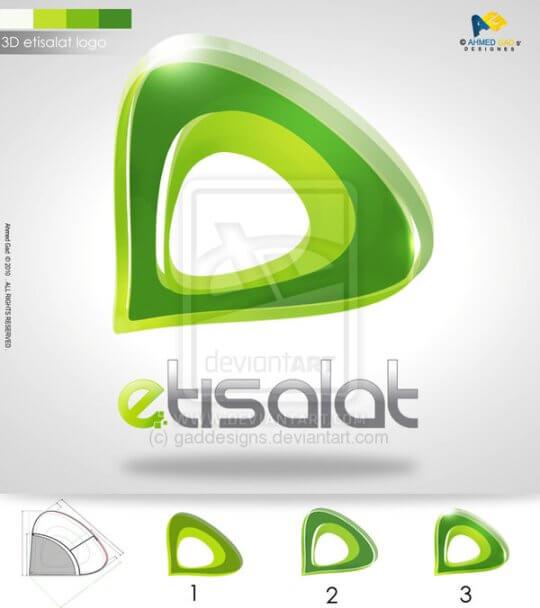 etisalat logo 3D style by gaddesigns