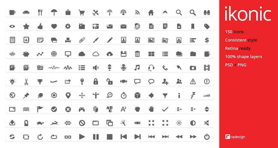 ikonic - 150 vector icons by k-raki