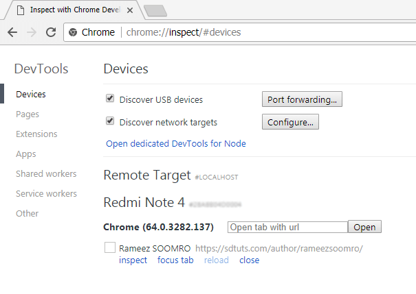 inspect smartphone android device from google chrome-inspect