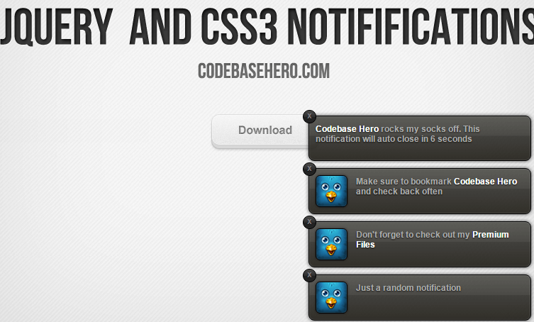 jQuery CSS3 Notifications
