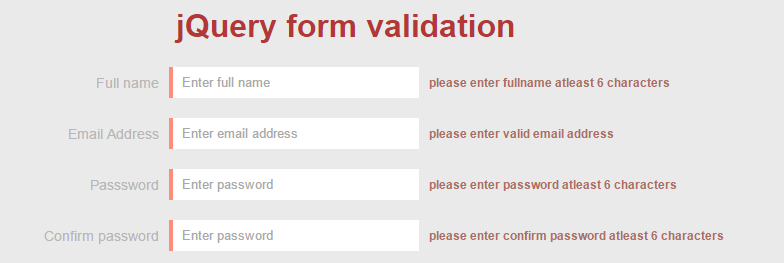 jQuery client side form validation