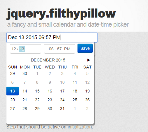 jquery filthypillow-fancy and small calendar and date-time picker