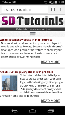 Access localhost website in mobile device