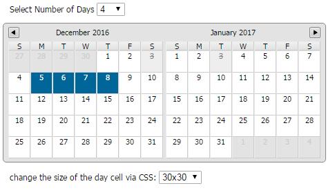 overset - Multiday Calendar Datepicker