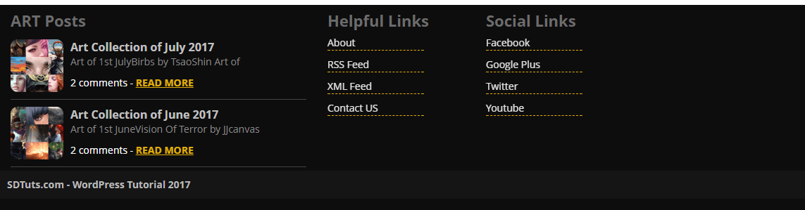 preview of footer section after applying css