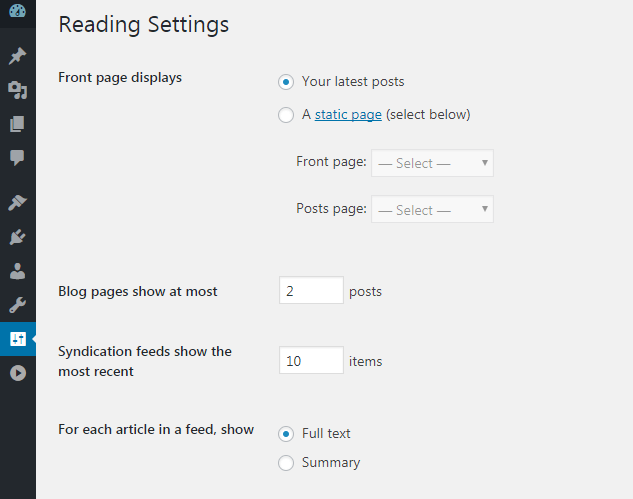 set per page post in admin panel