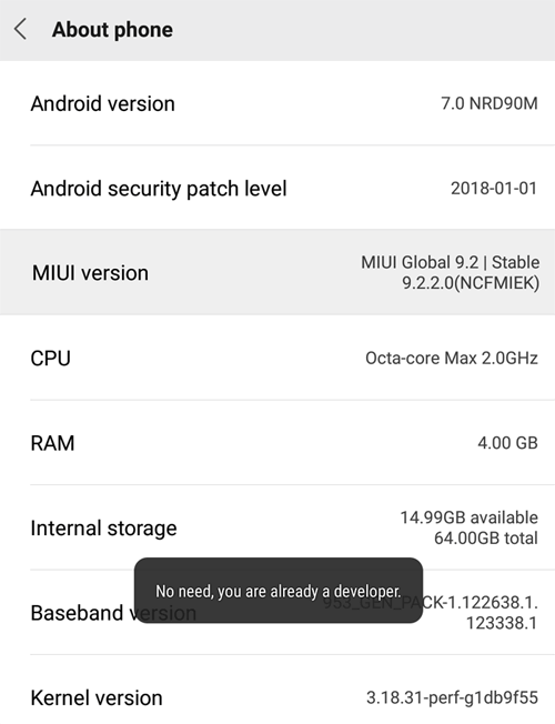 tap-click on MIUI version to become a developer