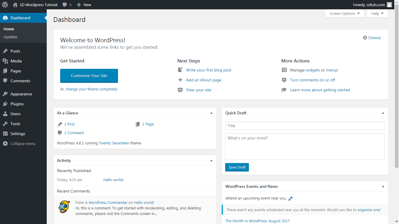 WordPress admin panel - dashboard screenshot
