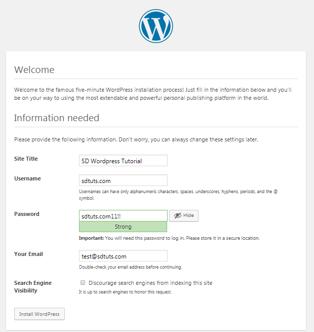 wordpress setup admin account