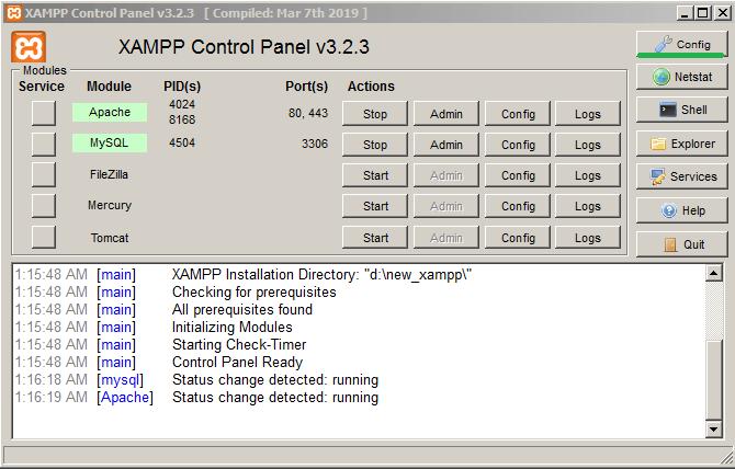 xampp open config