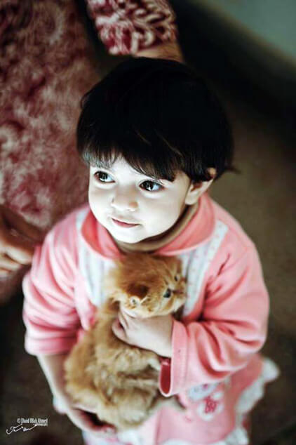 yes we love kids with cats by Ubaid Ullah Ahmed